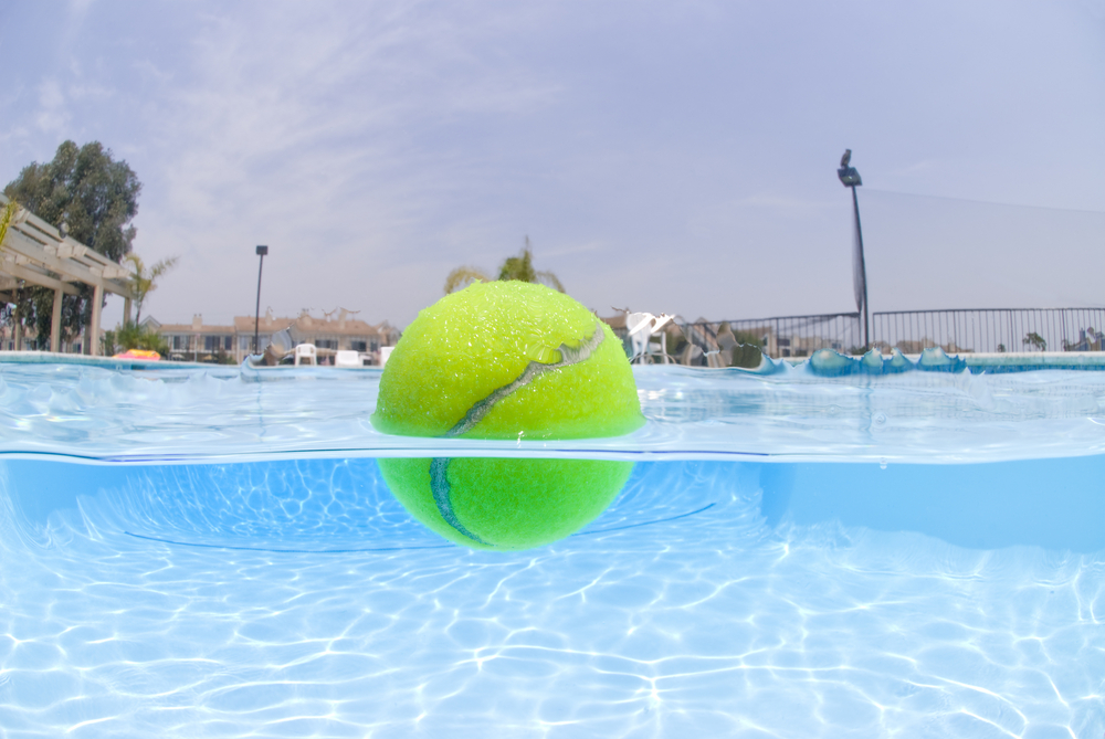 tennis ball in water
